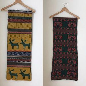Vintage Moose and Squirrel Scarves